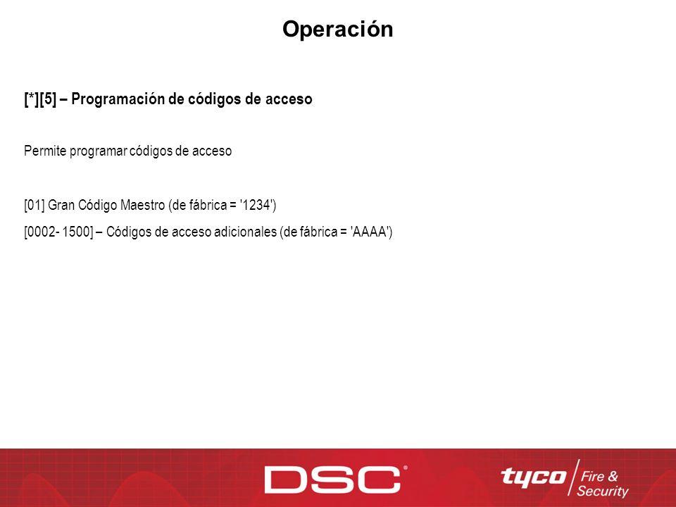 Operación [*][5] – Programación de códigos de acceso